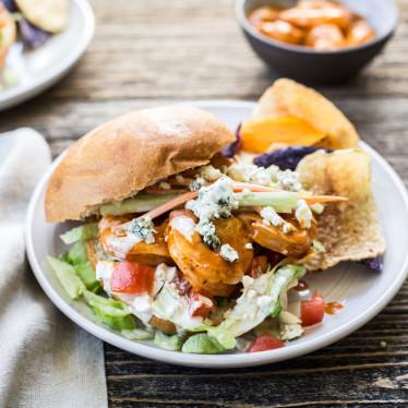 Grilled Buffalo Shrimp Sandwich